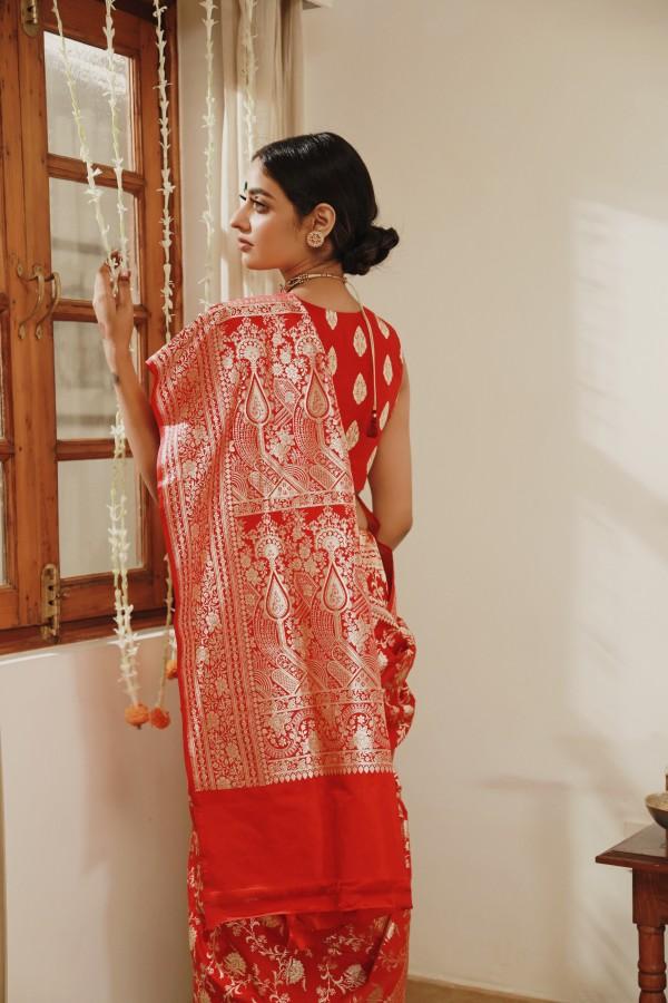 Handwoven Red Satan Sari
