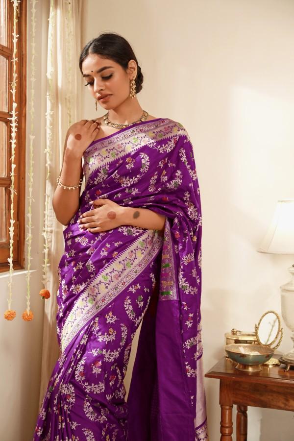 Handwoven Majenta Silk Sari