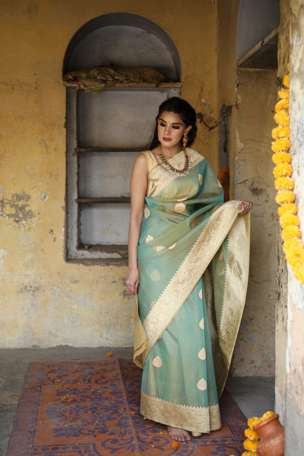 Handwoven sea green colour banarasi Organza saree