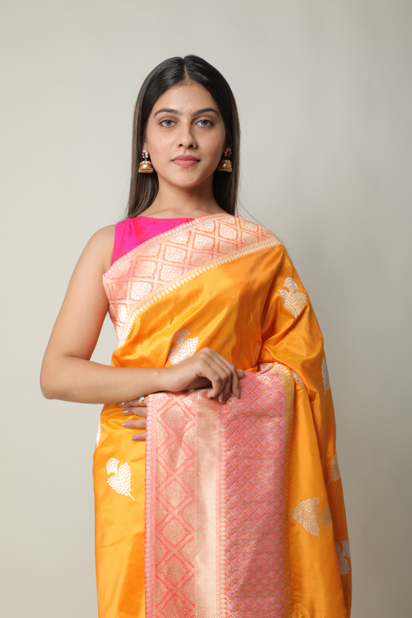 Handwoven gold colour silk saree