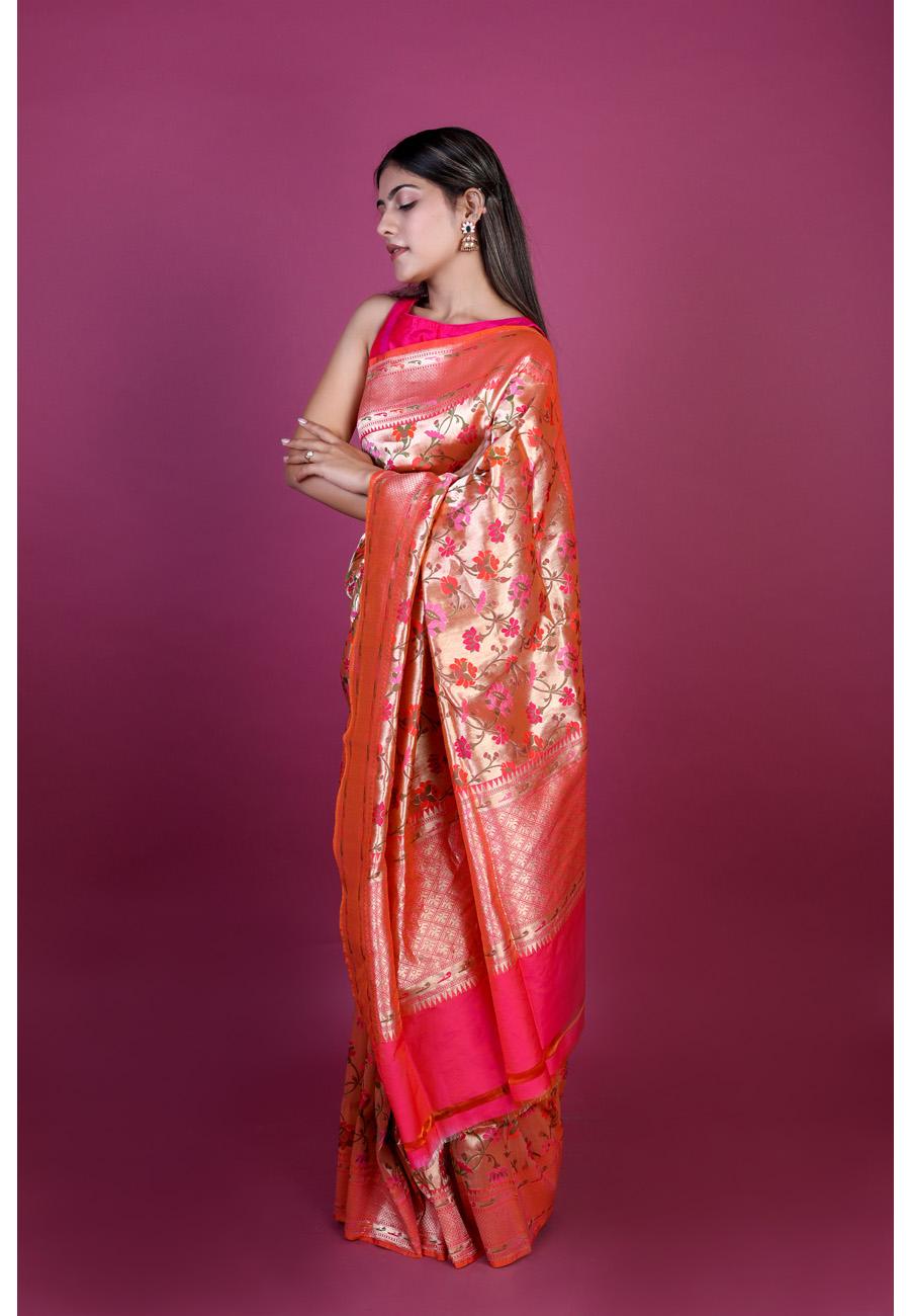 Handwoven Pink Tilfi Silk Sari
