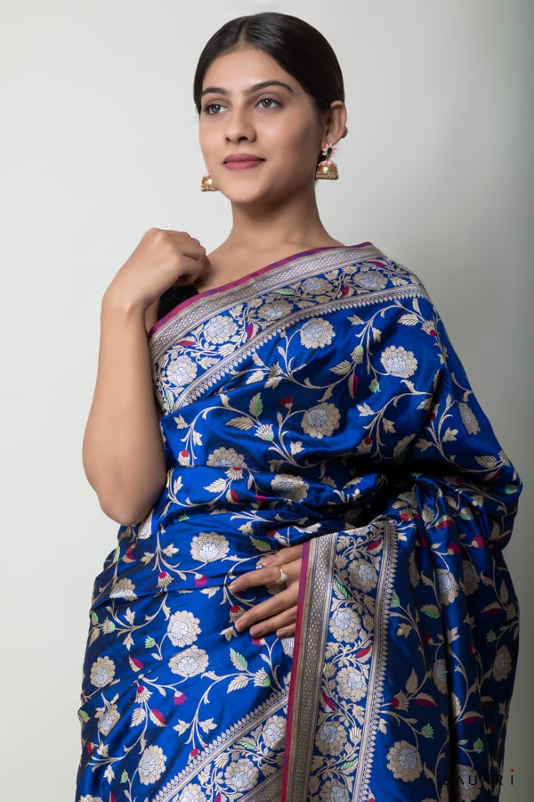 handwoven royal blue silk saree
