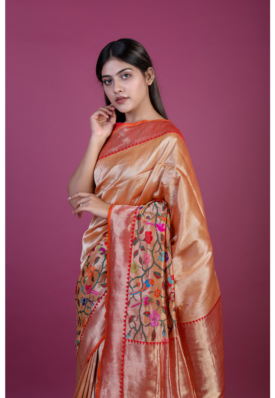 Handwoven Red Silk Sari