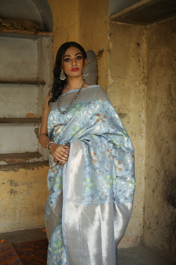 Handwoven sky blue  colour banarasi Organza saree