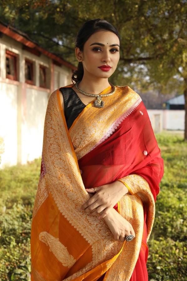 Handwoven maroon colour banarasi Georgette saree with contrasting border