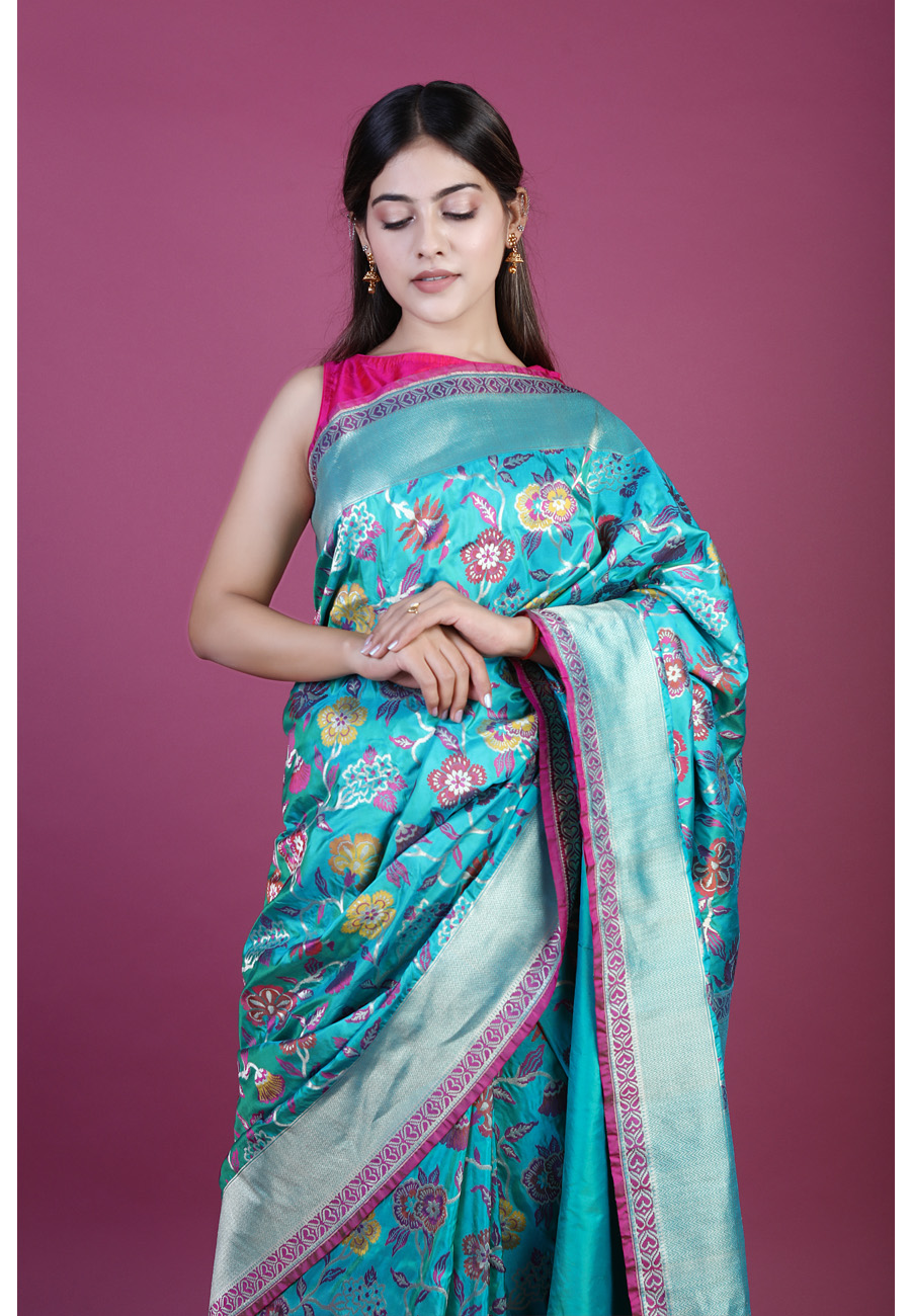 Handwoven Green Tilfi Silk Sari