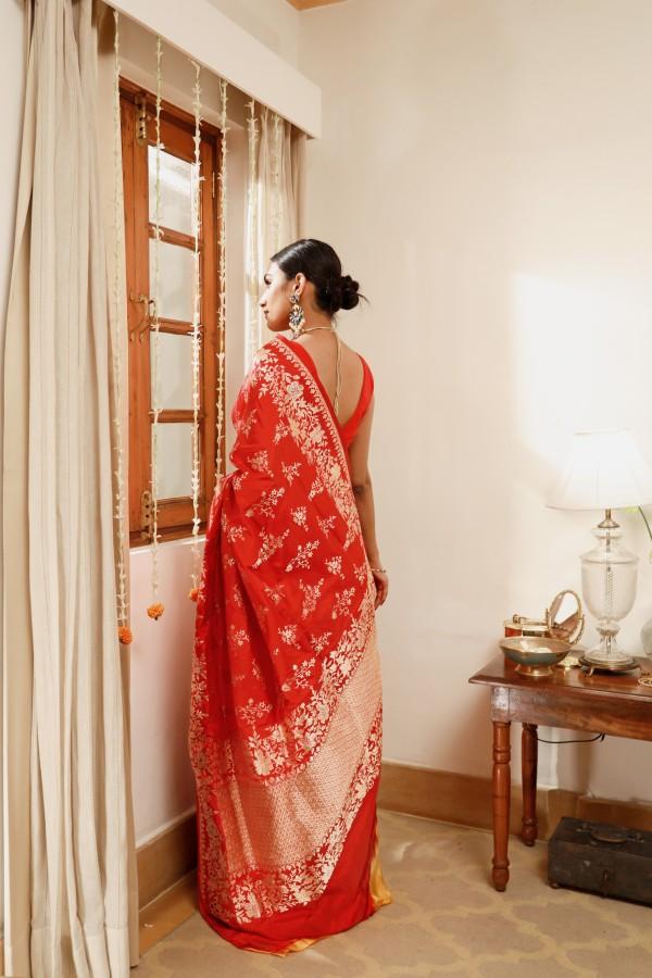 Handwoven Maroon Silk Sari