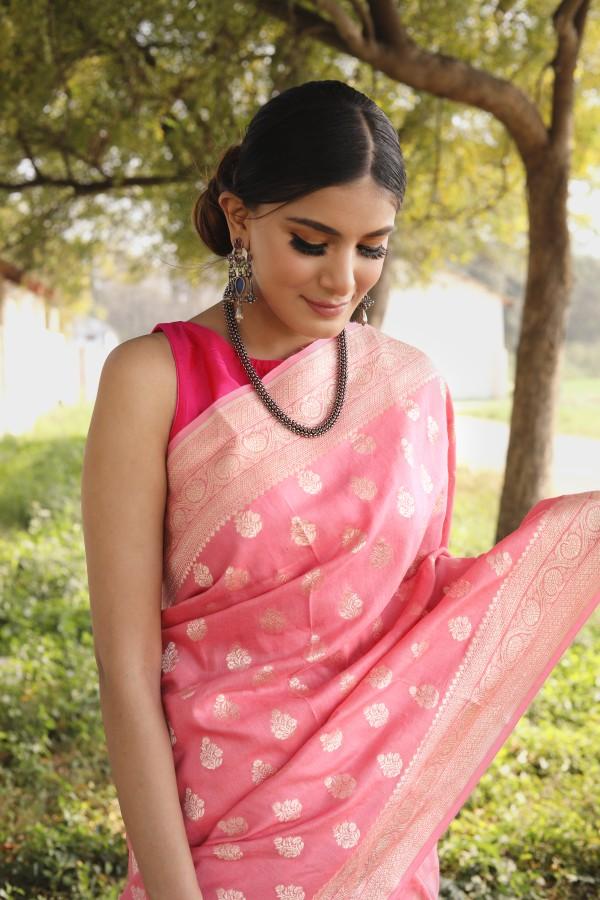 Handwoven ligth pink colour banarasi moonga Georgette saree