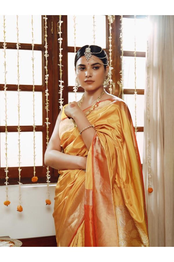Handwoven Mustard Silk Sari