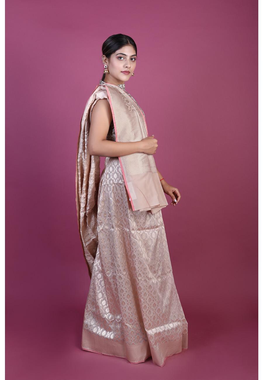 Handwoven Cream Colour Silk Sari
