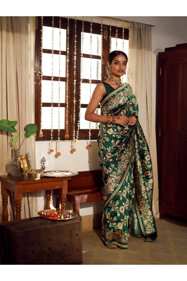 Handwoven Bottle Green Silk Sari