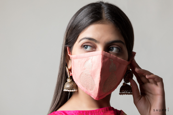 Handwoven pink colour silk mask