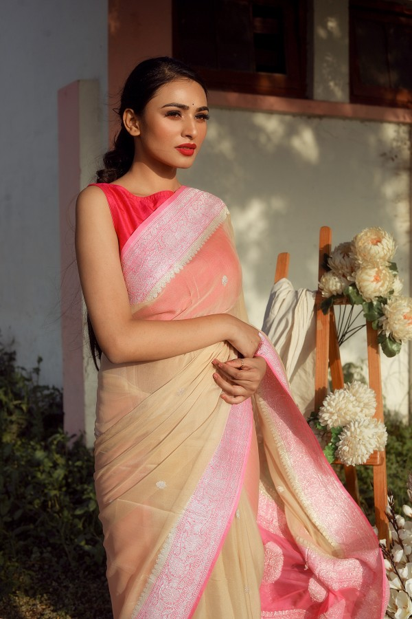 Handwoven tussar colour banarasi Georgette saree with contrasting border
