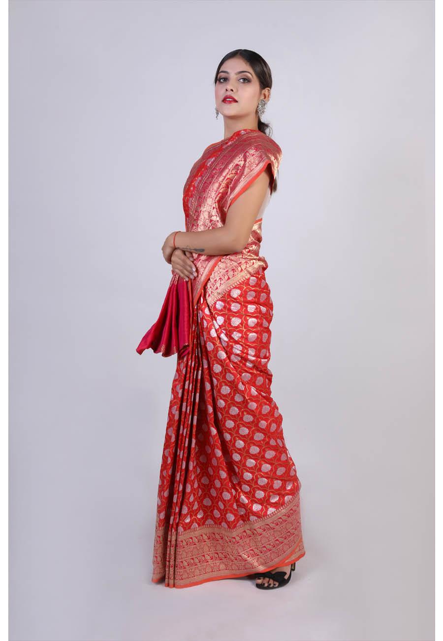 Red Handwoven Contrast Silk Sari