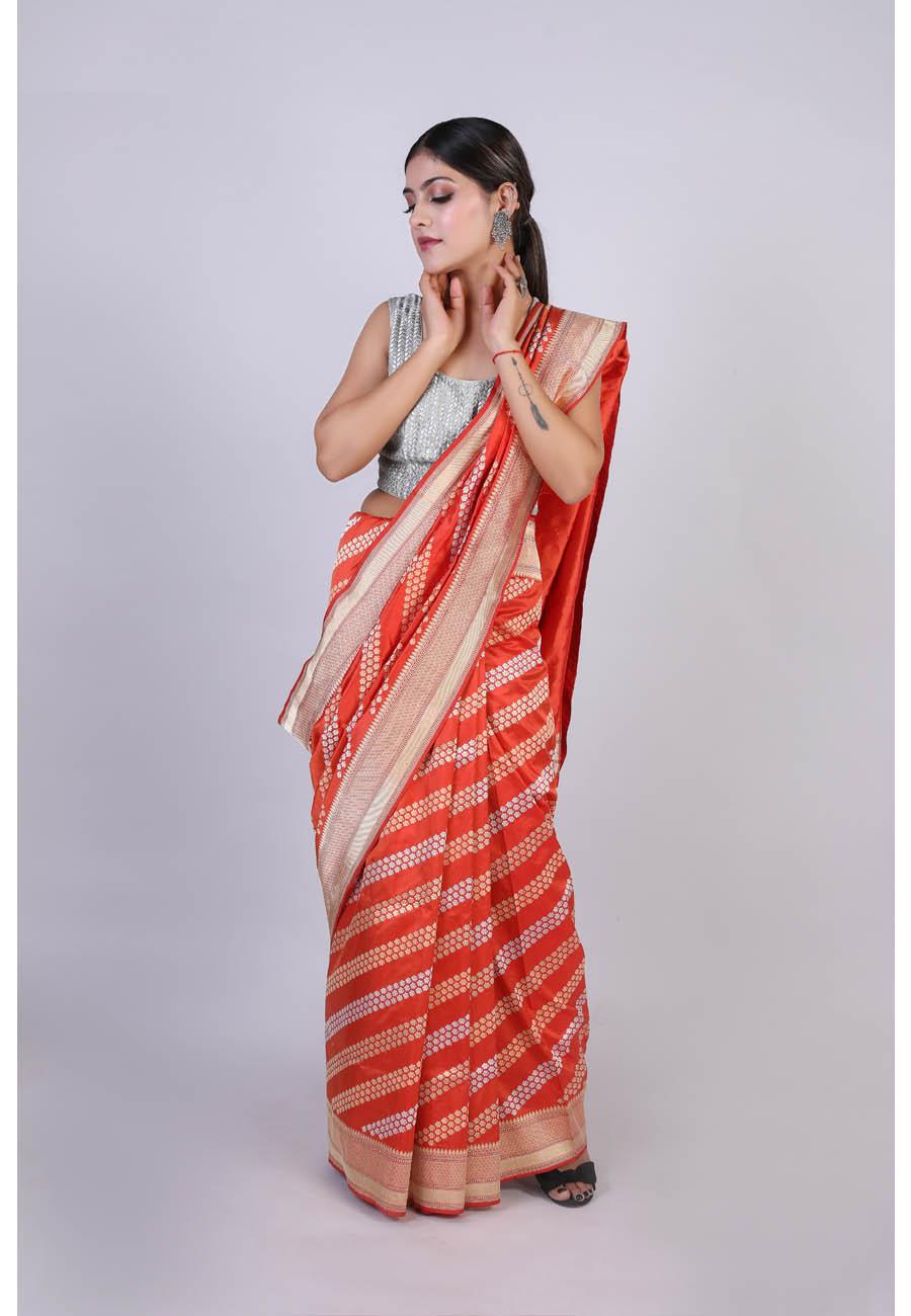 Handwoven Orange Colour Silk Sari