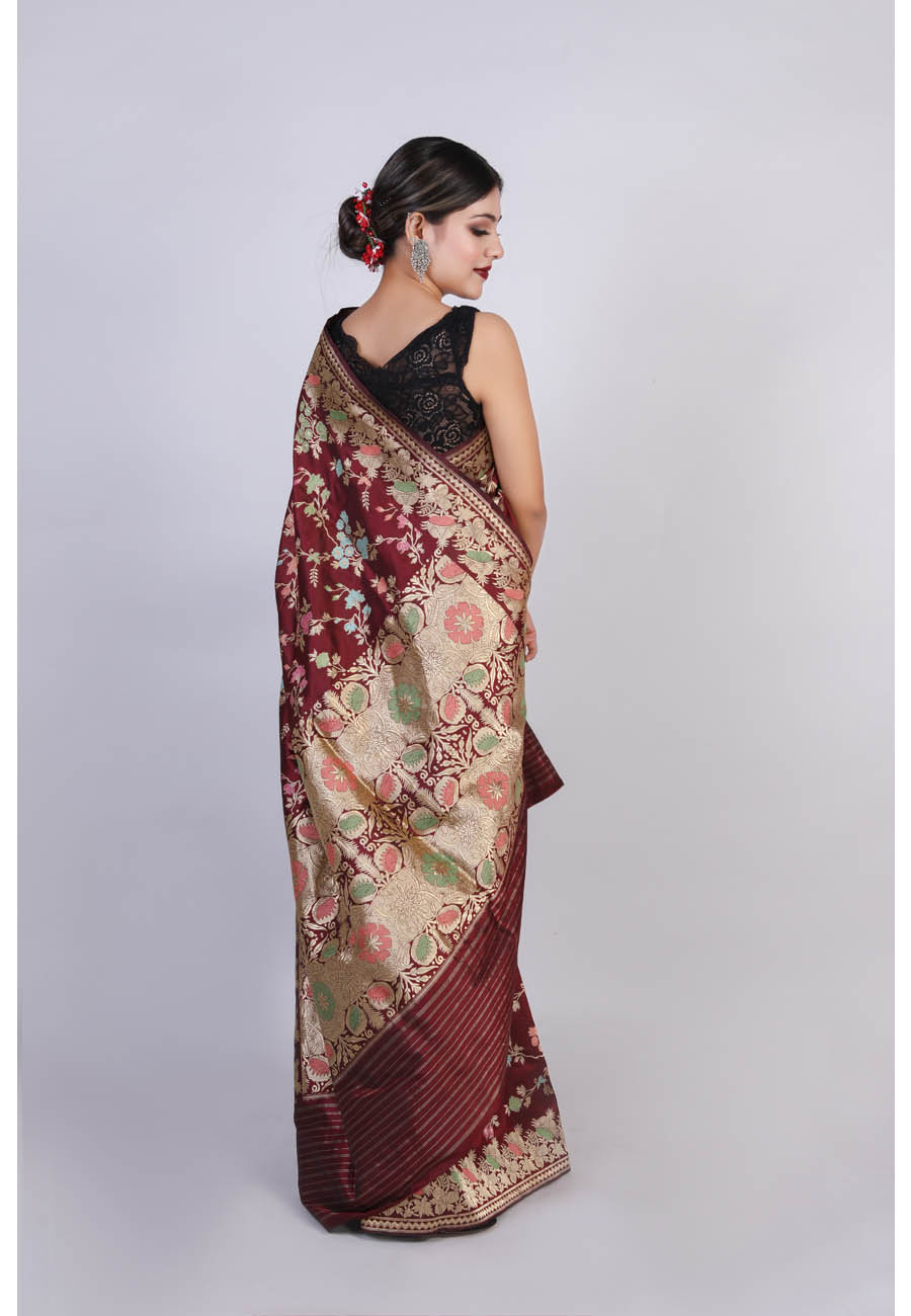 Handwoven Brown Tilfi Silk Sari