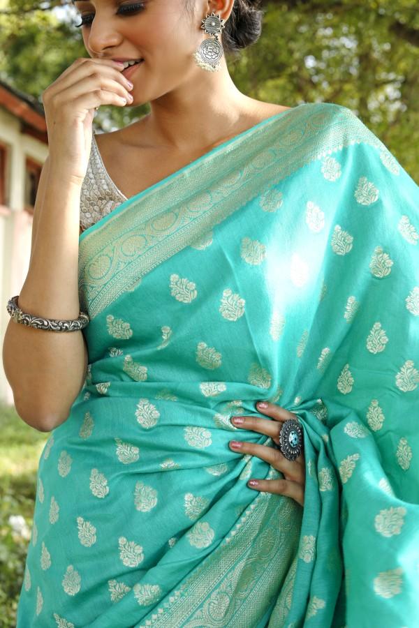 Handwoven sea green colour banarasi moonga Georgette saree