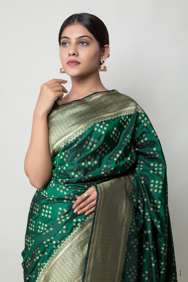Handwoven green colour silk saree