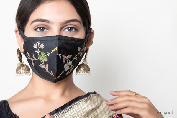 Handwoven black colour silk mask