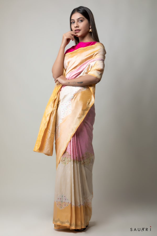 Handwoven multicolored checks silk saree
