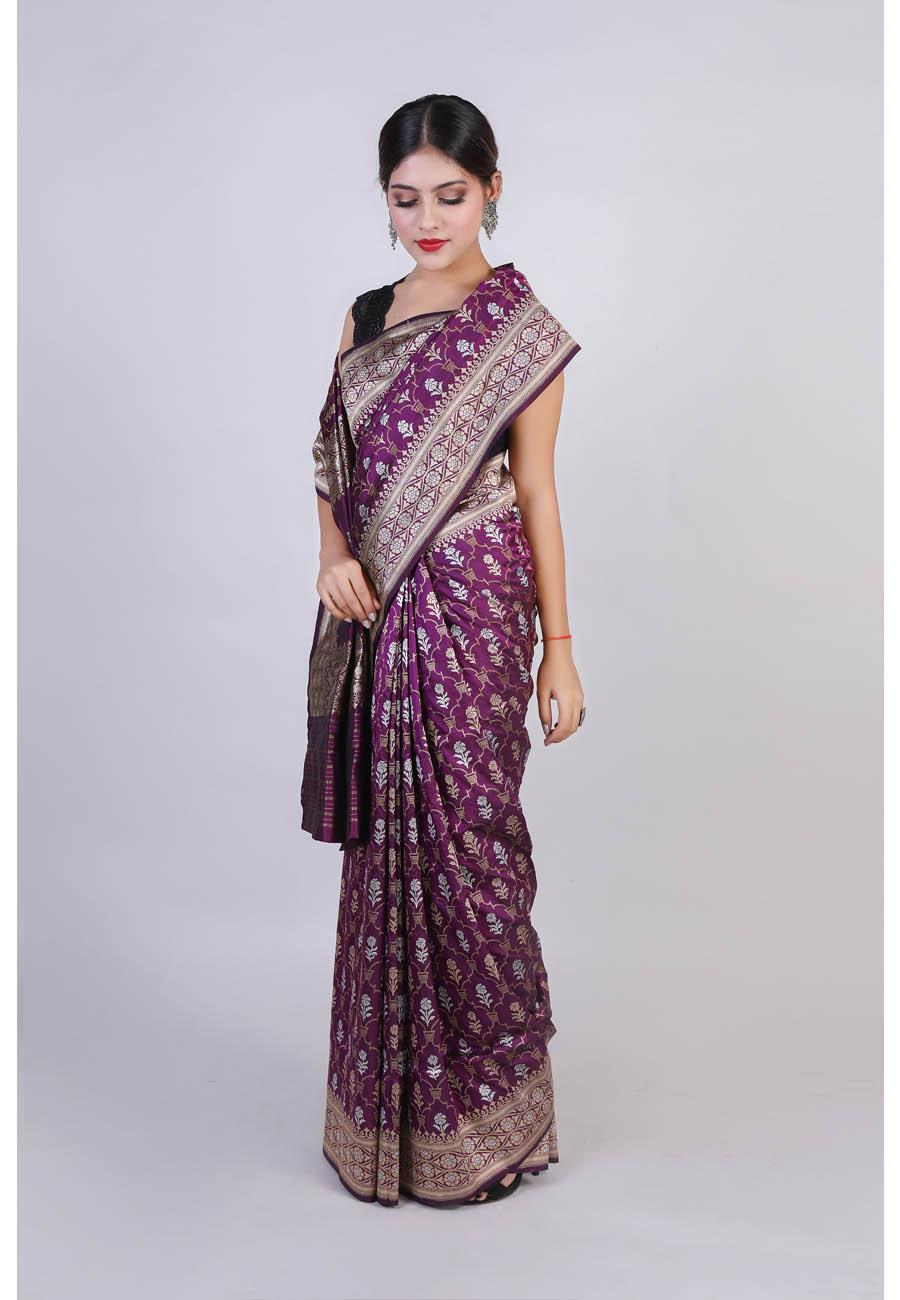 Handwoven Wine Silk Sari