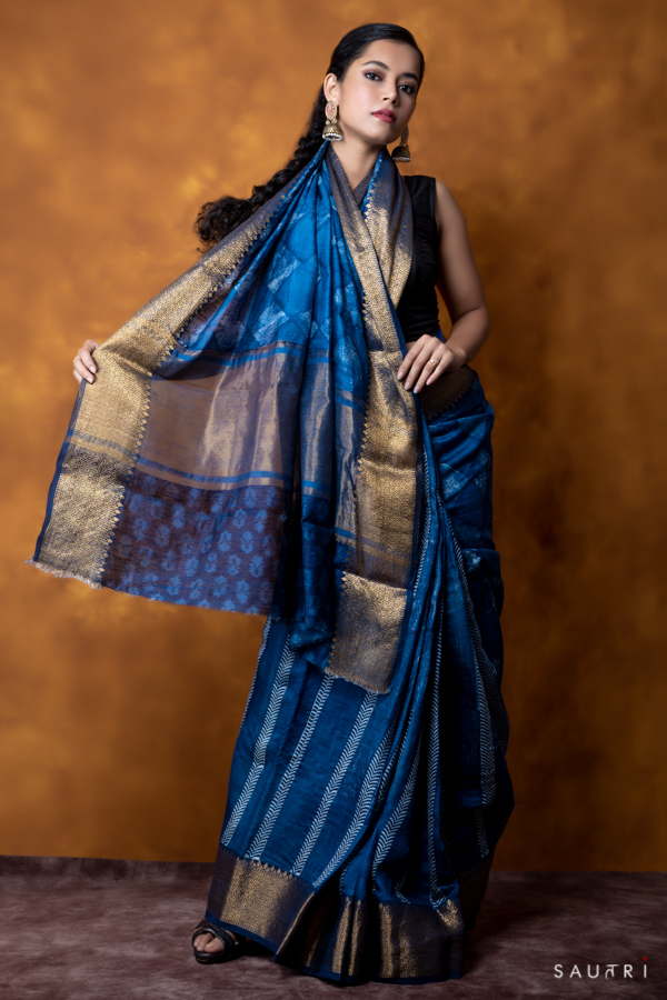 Handwoven indigo color half n half block print moonga saree