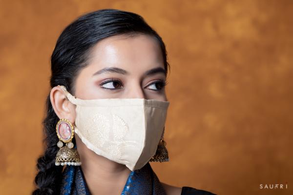 Handwoven cream colour silk mask