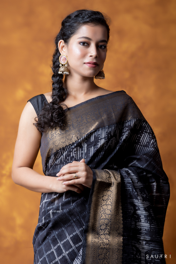 Handwoven black colour  block print moonga saree