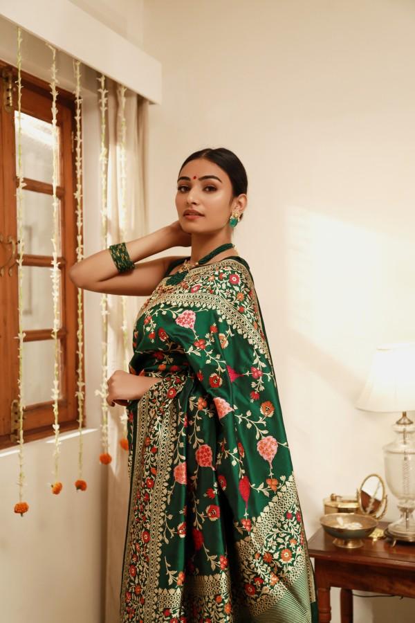 Handwoven Green Silk Sari