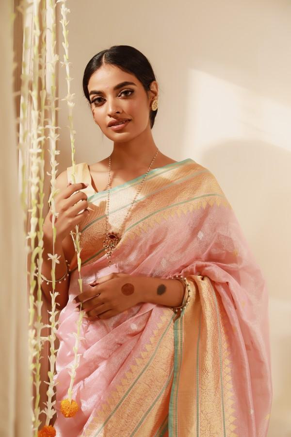 Handwoven Pink Tissue Sari