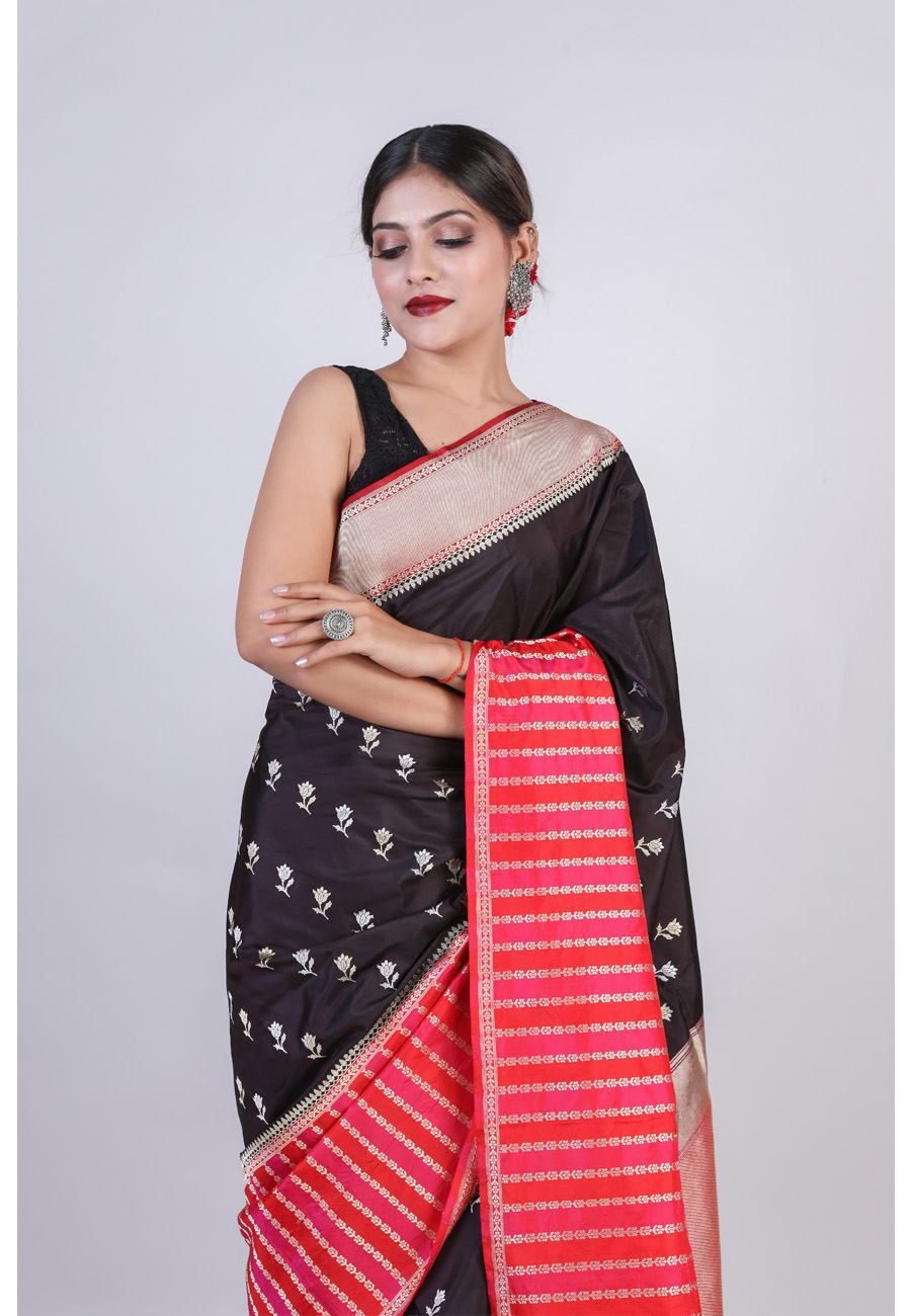 Handwoven Blackish Blue Silk Sari