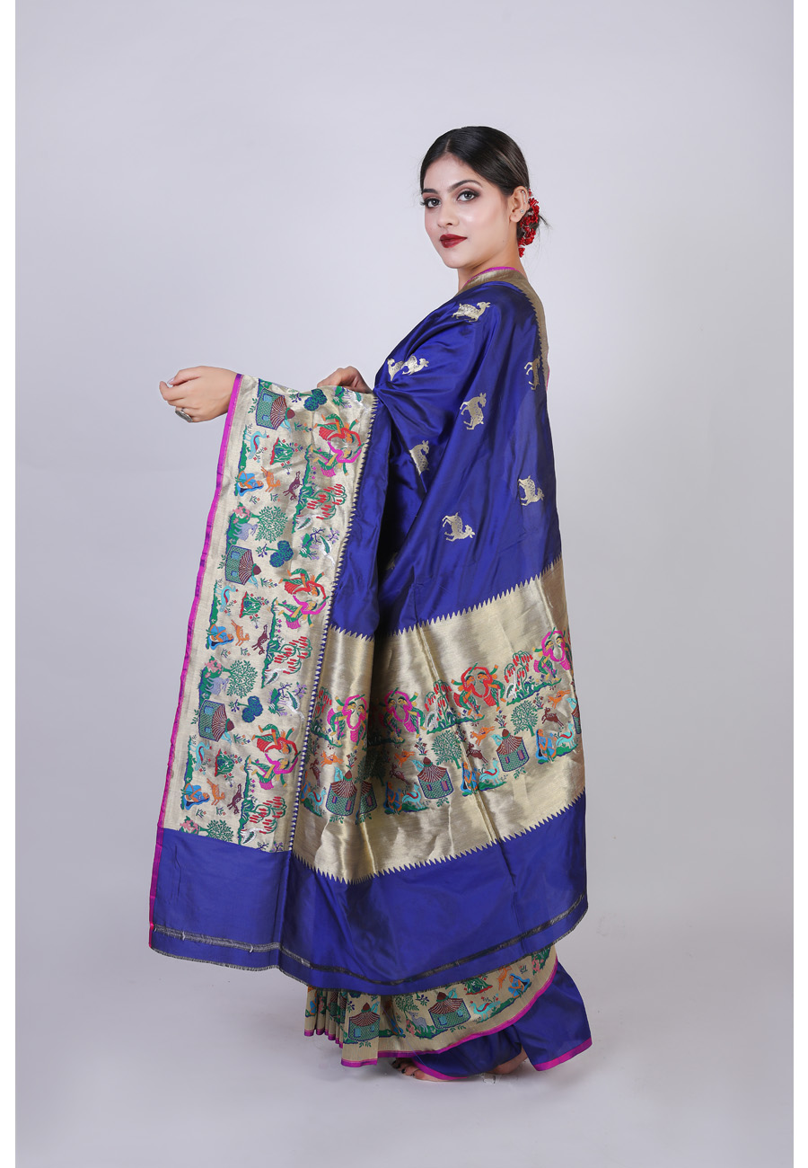 Handwoven Royal Blue Silk Sari