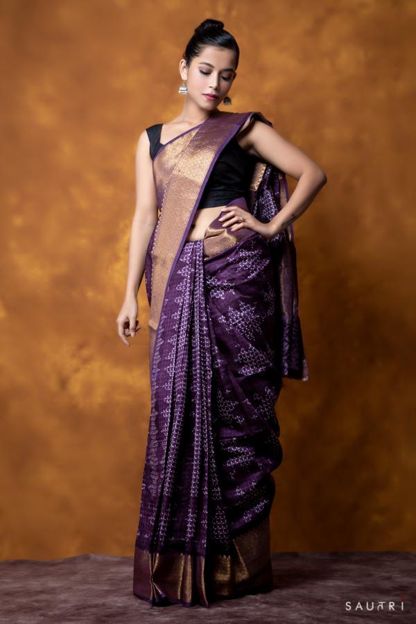 Handwoven blueberry colour block print moonga saree