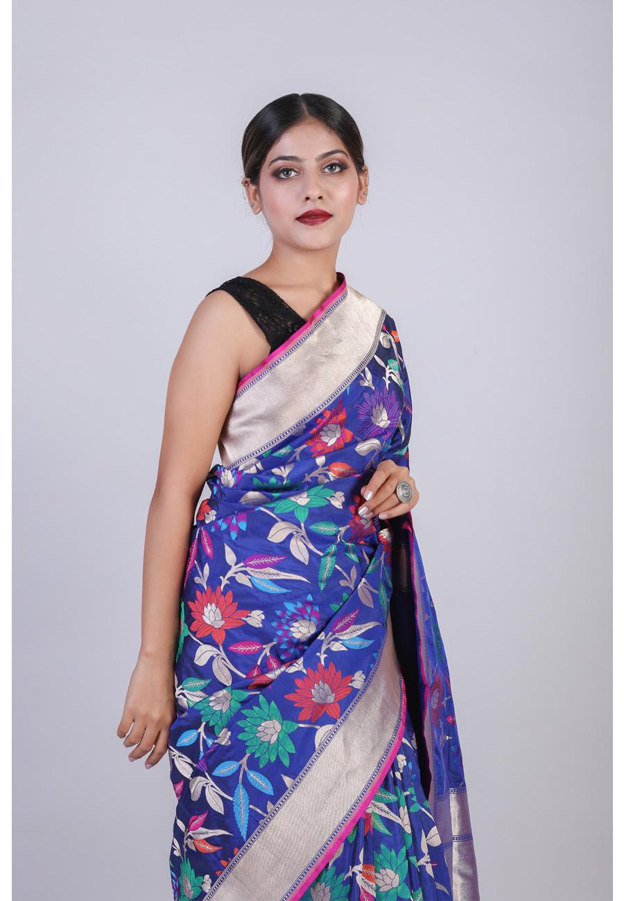 Handwoven Royal Blue Colour Silk Sari