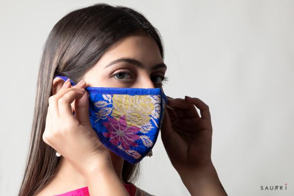 Handwoven royal blue colour silk mask