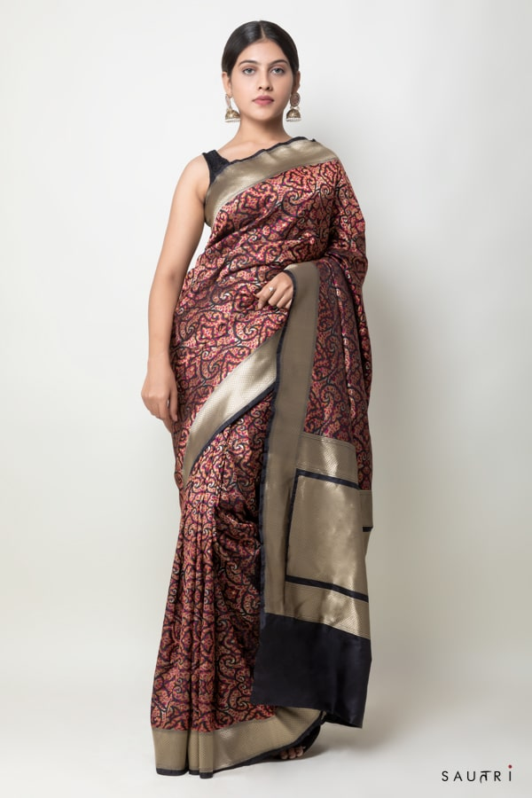 Handwowen Black jamdani silk saree