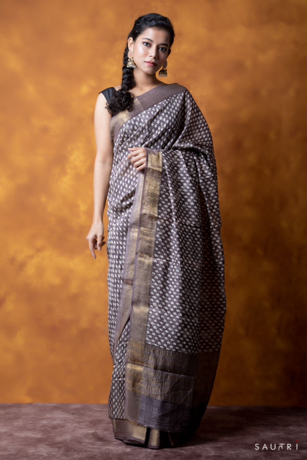 Handwoven grey colour block print moonga saree