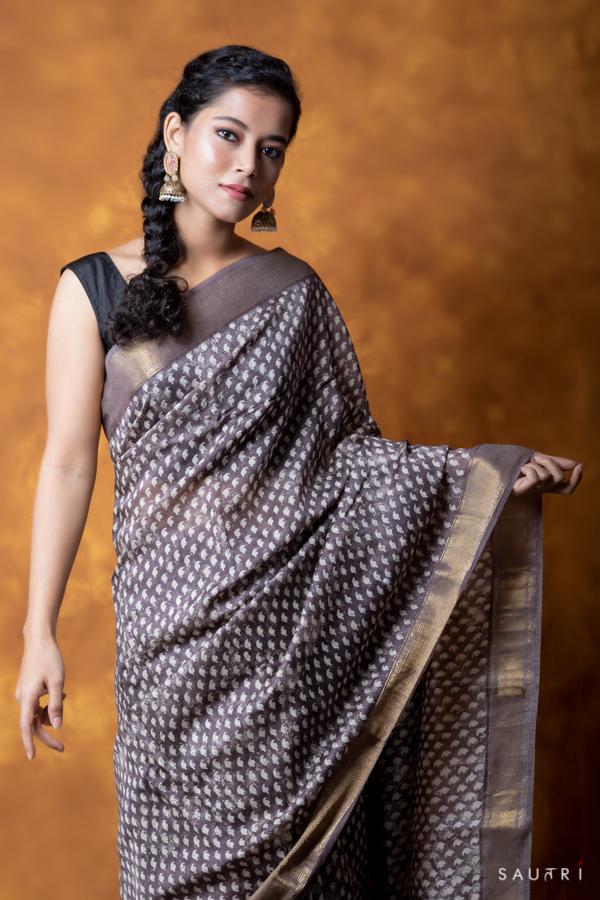 Handwoven grey colour block print moonga saree