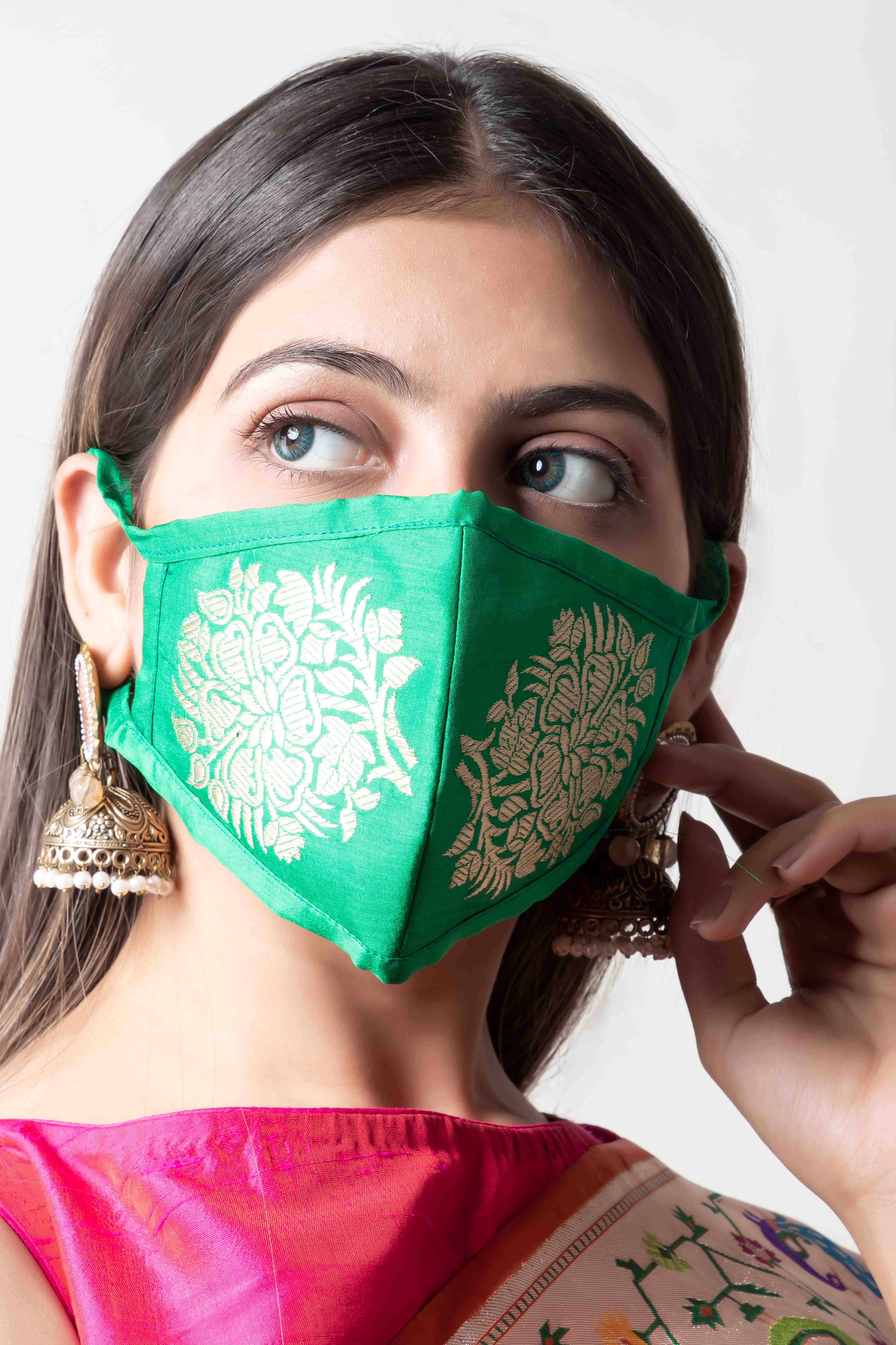Handwoven green colour silk mask