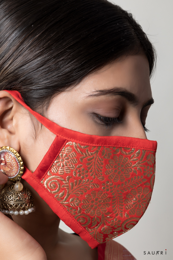 Handwoven red colour silk mask