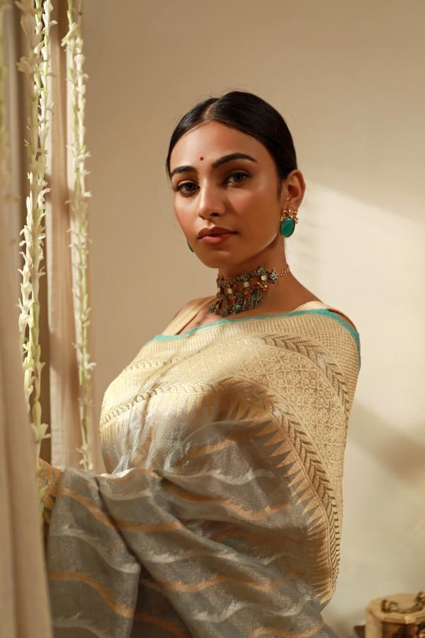 Handwoven Grey Tissue Sari