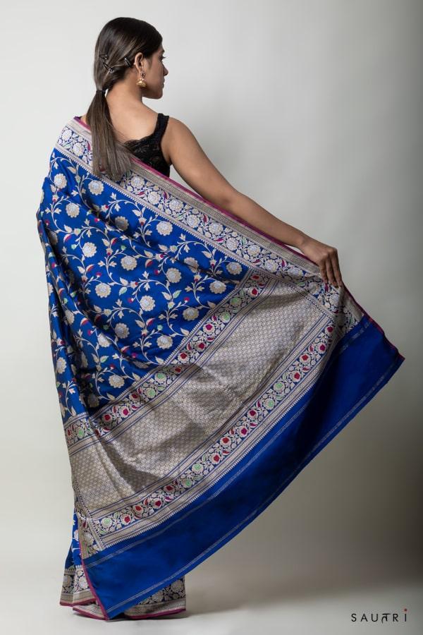 handwoven royal blue silk saree