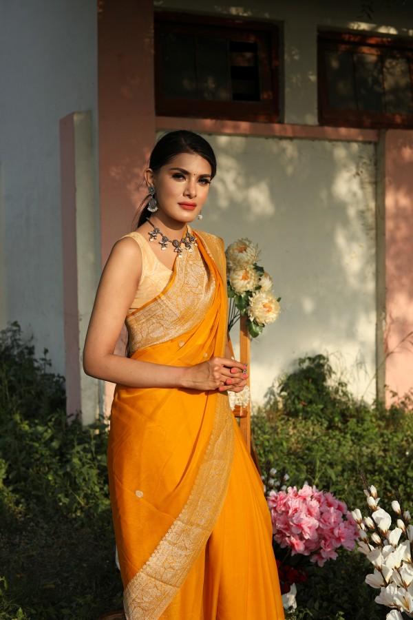 Handwoven mustard colour banarasi Georgette saree