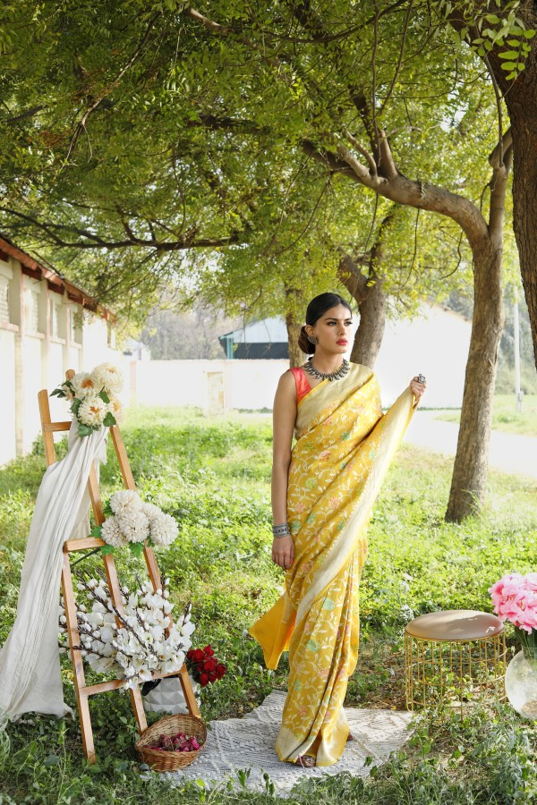 Handwoven Mustard colour tussar Georgette saree