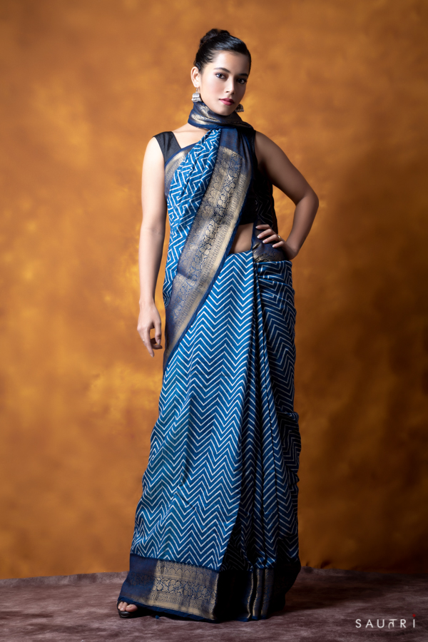 Handwoven indigo colour block print moonga saree