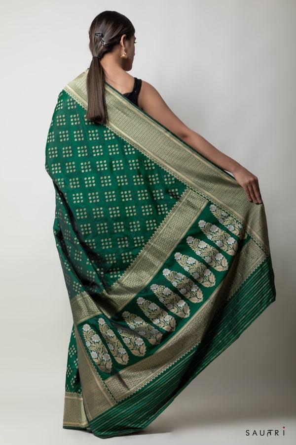 Handwoven green colour silk saree