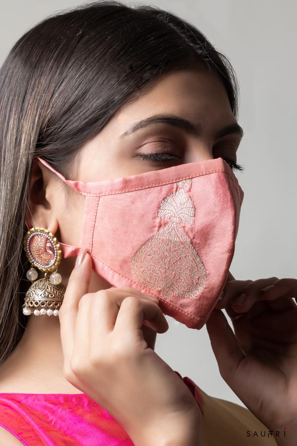 Handwoven pink colour silk mask