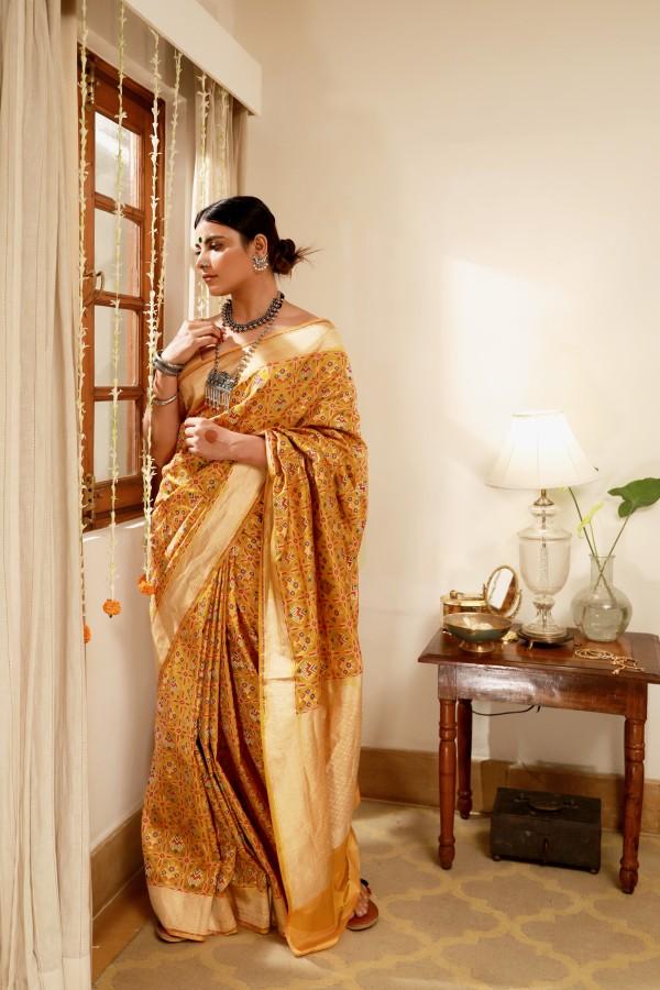 Handwoven Gold Silk Sari