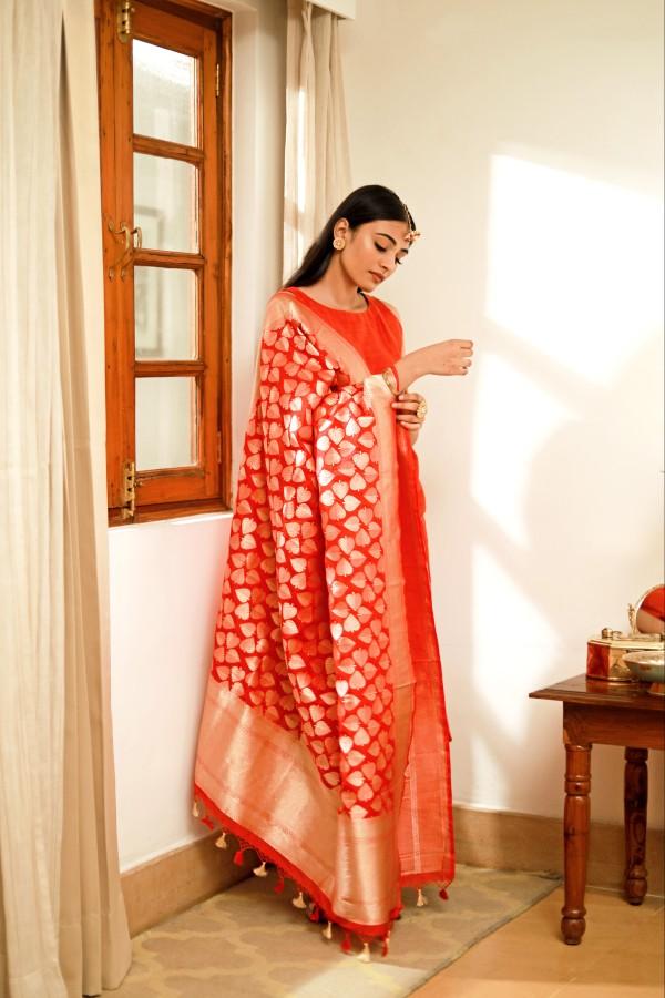 Handwoven Red Silk Dupatta