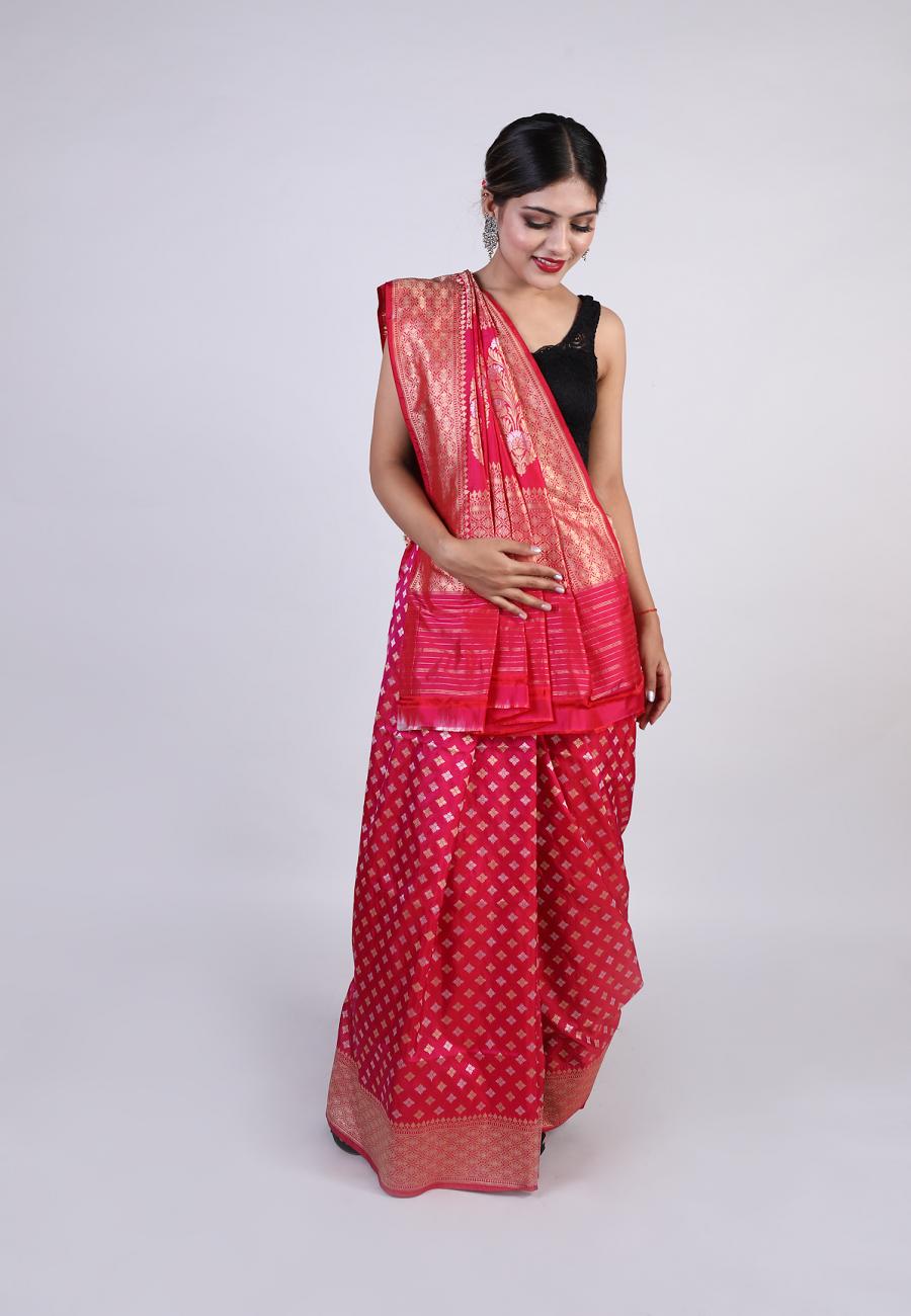Handwoven Pink Silk Sari